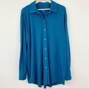 Soft Surroundings | Blue Button Down Tunic Blouse